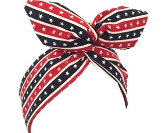 Rockabilly Pin up Patriotic Red, Cream & Blue.. Stars and Stripes Print  4th July Wire Headband Hair Wrap