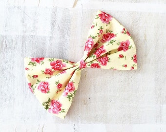 Yellow with pink floral print large Hair Bow Clip - Pin Up