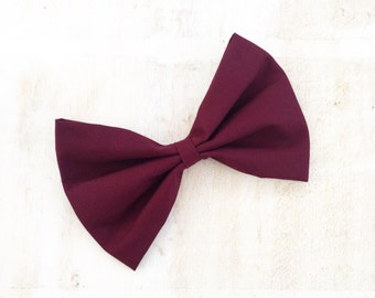 Burgundy large hair bow on clip Rockabilly Pin Up