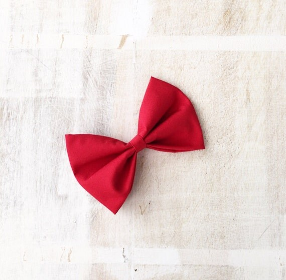 Cute red pin up hair bow clip 4""