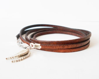 skinny brown leather wrap bracelet, unisex angel wings cuff, boho chic rocker style, mens leather bracelet, gift for him, gift for her