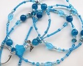 OCEAN ANGEL- Beaded ID Lanyard Badge Holder-Sparkling Crystals, Lucite, and Glass Pearl Beads (Necklace Clasp)