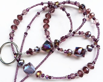ELEGANT AMETHYST- Beaded ID Lanyard- Vibrant Sparkling Crystals and Silver Accents (Magnetic Clasp)