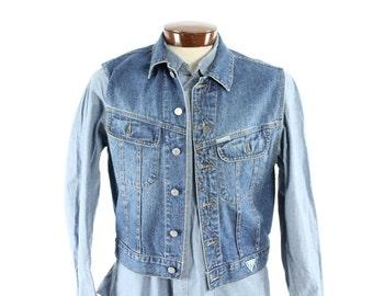 Vintage 80s GUESS Jeans Vest Blue Denim Jacket 1980s Sleeveless Shirt Medium M