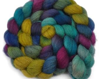 Hand dyed wool roving - Gray Masham wool spinning fiber - 4.3 ounces - Ghislaine 1
