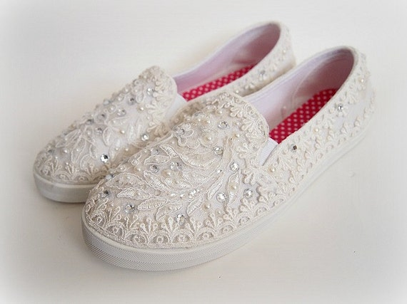 wedding bridal flat tennis shoes chic ivory by shellsandblooms