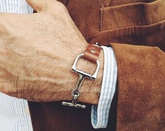 Men's Leather Bracelet, Equestrian Snaffle Bit Bracelet, Men's Bracelet, Men's Jewelry, Leather Bracelet, Men's Gift