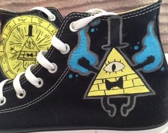Bill Cipher Gravity Falls custom Converse or Vans