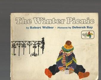 RARE CHILDREN'S BOOK, The Winter Picnic By Robert Welber, 1973 Trade Rare Paperback, First Pinwheel Book Edition, Snow, Picnic, Mother, Boy