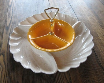 Lane & Company 1960 Van Nuys California Chip-n-Dip Lazy Susan Ceramic Dish Set
