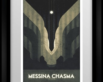 Space Travel Poster -Titania - Messina Chasma