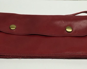 Red Leather Continental Wallet Vintage 9 x 5  3 foot long strap