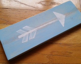 Blue arrow sign - rustic blue and white arrow