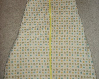 Gender Neutral Infant Baby Boy Girl Sleep Sack Size 3 month Tan with Dots and Yellow Flannel - Clearanced