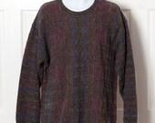 90s Men's Sweater - dark colors textured - COTTON TRADERS - XXL