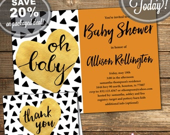 Baby Shower Package, Invitation, Thank You Card, Triangles, Aztec, Tribal, Black and White, Orange, Printable File (INSTANT Download)