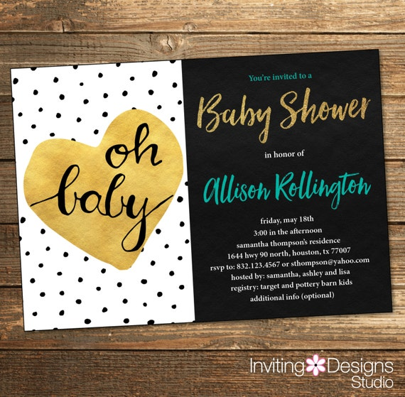 Baby Shower Polka Dots Invitation - Gold Teal