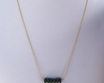 green jasper bar necklace