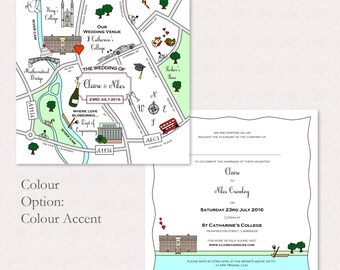 Custom Map Wedding Invitation or Info Card - Colour Accent | Luxury Invitation | Square Invitation | Unique Invitation | Destination Wedding