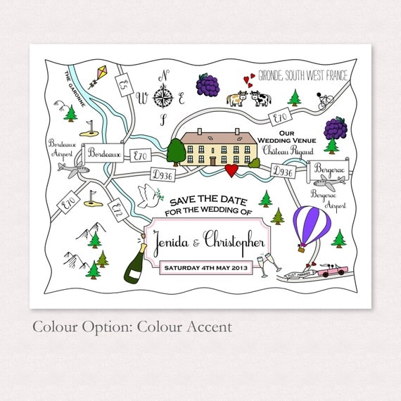 Custom Map Design - Cute Wedding or Party Map | Wedding Directions | Travel Theme | Invitation Map | Printable | Digital File
