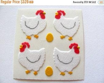 ON SALE Vintage Sandylion Fuzzy Chicken Sticker Mod - 80's Bird Scrapbook Hen Egg Chick