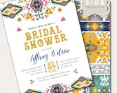 Tribal Bridal Shower Invitation, Boho Invitation, Tribal Theme Party / Aztec - Printable - Pink