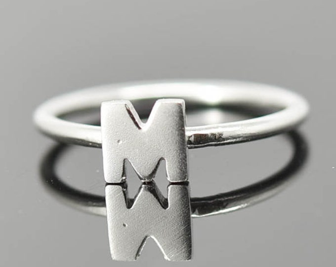 Initial Ring, Sterling Silver, Personalized Gift, Bridesmaid Gift, Bridal Jewelry, Maid Of Honor, Wedding, Stacking Ring, Best Friend Gift