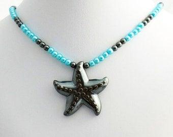 Hematite Starfish Pendant Blue Glass Pearl Natural Stone Jewelry Necklace