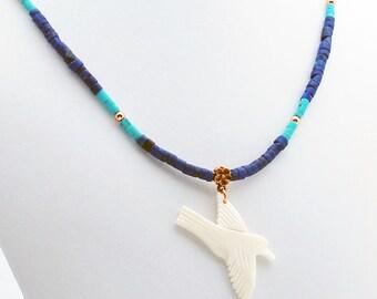 Lapis Lazuli Turquoise & Copper White Dove Necklace, Statement Necklace, Trending Necklace, Beadwork Necklace