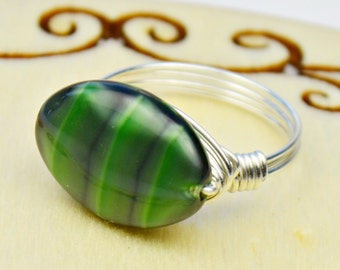 Sale! Wire Wrapped Ring- Sterling Silver Filled Wire with Oval Green Glass Bead - Any Size- Size 4, 5, 6, 7, 8, 9, 10, 11, 12, 13, 14