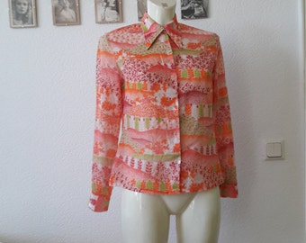 60s vibrant psychedelic novelty print blouse top pointed collar