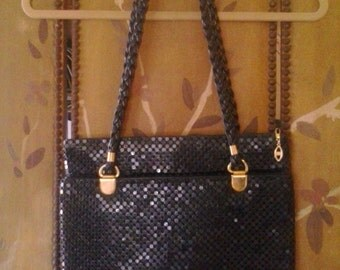 80s black aluminium mesh handbag