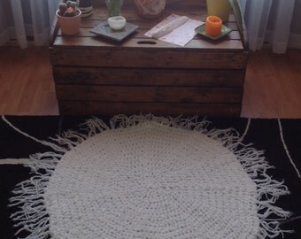 Crochet White Meditation Mat,Prayer Rug,Crochet Mandala,Knit Rug,Bohemian Rug,Hippie Rug,Spirituality,Acrylic Yarn,Fringe Circle,Round