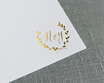 Gold Foil Laurel Monogram Stationery, Wedding Thank You cards, Custom Note Cards, Couple's Stationery