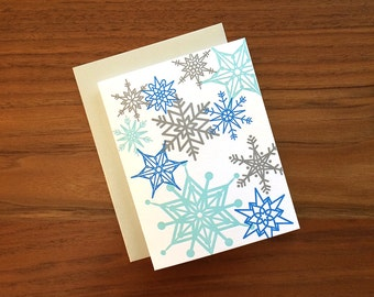 Silver and Blue Snowflakes - Letterpress Holiday Card