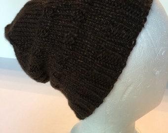 Handknitted Cap in Brown