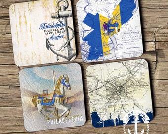 Coaster Set | Philadelphia   | Philly Landmarks and Maps Style | Set of 4 Cork Back | Options at Checkout