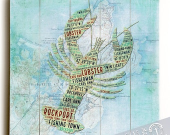Wood Sign: Rockport, Mass Lobster Vintage Map Printed Direct On Wood. Nautical Beach House Wall Decor Ready to Hang