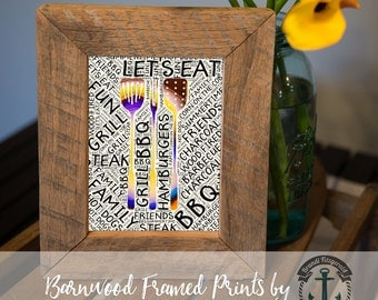 Let's Eat BBQ Party - Framed Print in Reclaimed Barnwood Bar and Kitchen Style - Handmade Ready to Hang | Size & Price via Dropdown