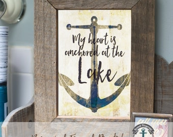 Anchored at the Lake - Framed Print in Reclaimed Barnwood Lake House Style - Handmade Ready to Hang | Size & Price via Dropdown