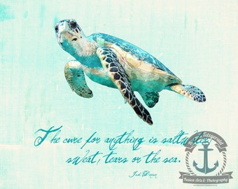 Sea Turtle Beach House Dinesen Saltwater Quote Anchor Wall Decor At Checkout, Choose Lustre Print or Gallery Wrapped Canvas