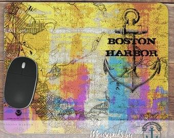 Mousepad: Boston Harbor Anchor | Boston Map Hometown Decor | Handmade in USA Office Accessory