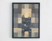 Original Terrier Abstract Painting / C Barrer / Framed