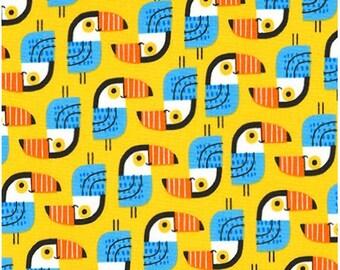 Toucan Birds on Yellow from Robert Kaufman's Little Senioritas Collection by Suzy Ultman