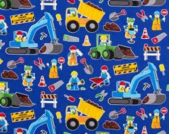 """END OF BOLT - Construction Workers on Royal Blue from Timeless Treasures - 16"""" X 44"""""""