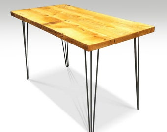 Farm table with 1950s style hairpin legs
