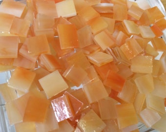 ORANGE CREAM TRANSLUCENT 75 Odd Mosaic Stained Glass Tiles Opal O6