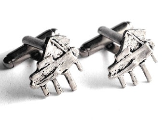 Silver Piano Cufflinks, Mens Handcrafted Organ Keyboard Music Instrument Cuff Links Set- Guys Prom Groom Wedding, Band Concert Gift for Man