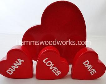 PERSONALIZED Valentine Wooden Conversation Hearts