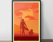 Star Wars Rey & BB-8 Poster - 12 by 18 Inch Print - The Force Awakens